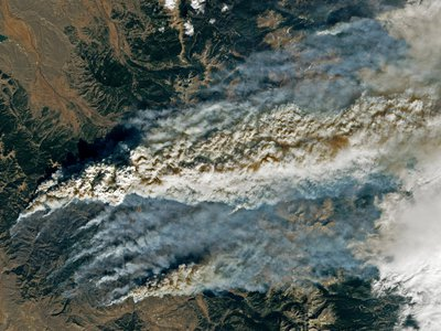 Colorado's two largest fires in state history seen from space via Landsat 8. The Cameron Peak fire is on the upper right and the East Troublesome fire is on the lower left; the fires have burned more than 190,000 and 200,000 acres, respectively.
