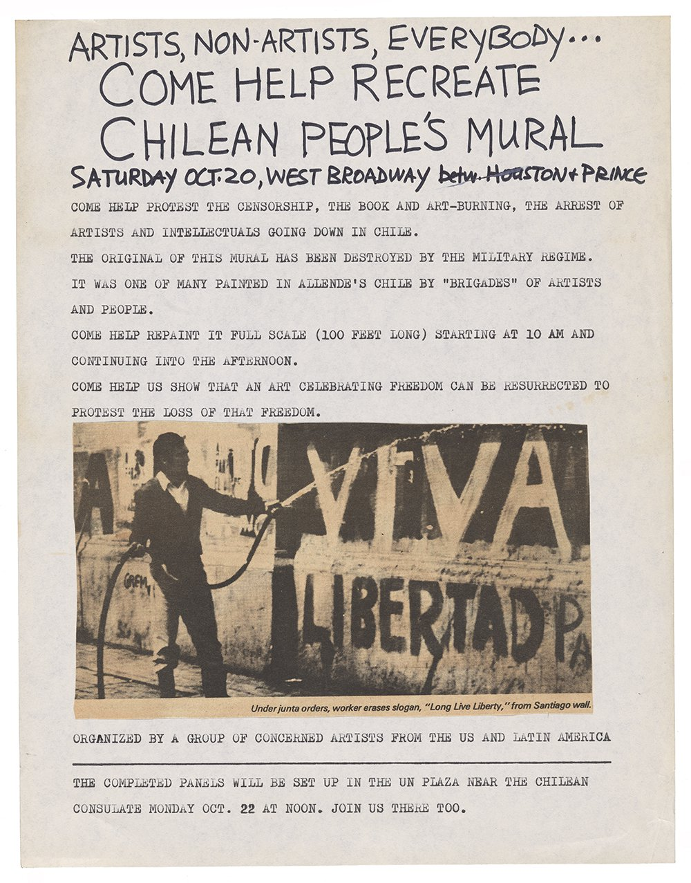 Poster advertising the first of a two-part art action in New York protesting the Chilean coup in 1973