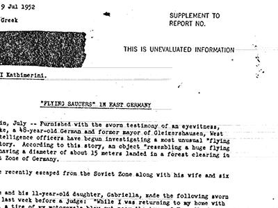 A 1952 report on a flying saucer sighting in East Germany housed in the CIA's recently released archive suggests that the truth is, perhaps, out there.