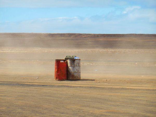 Deserted barrels in the desert of Sal thumbnail