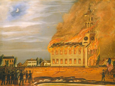 Americans who distrusted their Catholic, French-speaking neighbors burned the Old South Church in Bath, Maine.