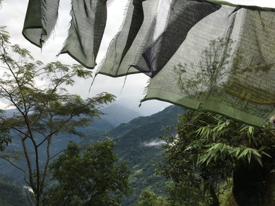 Prayer flags in North Sikkim, where the author traveled in search of clues about his grandfather