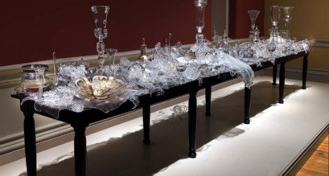 """Beth Lipman's sculpture """"Bancketje,"""" is on view at the Renwick."""