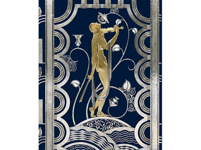 Muse with Violin Screen (detail), 1930. Rose Iron Works, Inc. (American, Cleveland, est. 1904). Paul Fehér (Hungarian, 1898–1990), designer. Wrought iron, brass; silver and gold plating