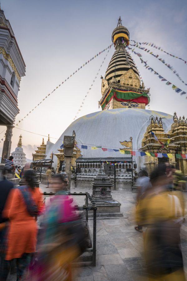 Colorful clothed women enjoying Swayambhunath Temple thumbnail