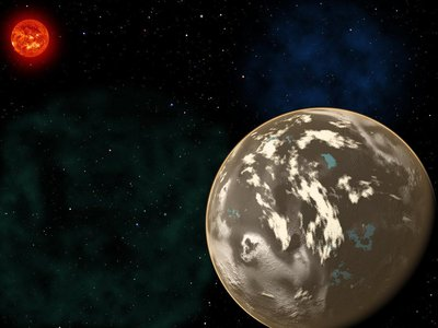 In this artist's conception, a carbon planet orbits a sunlike star in the early universe.