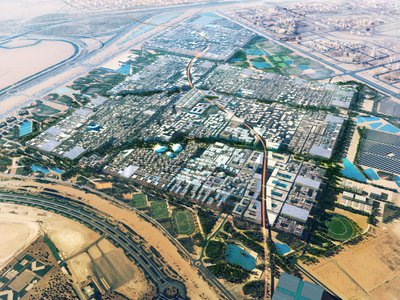 An artist renders the proposed master plan of Masdar City.