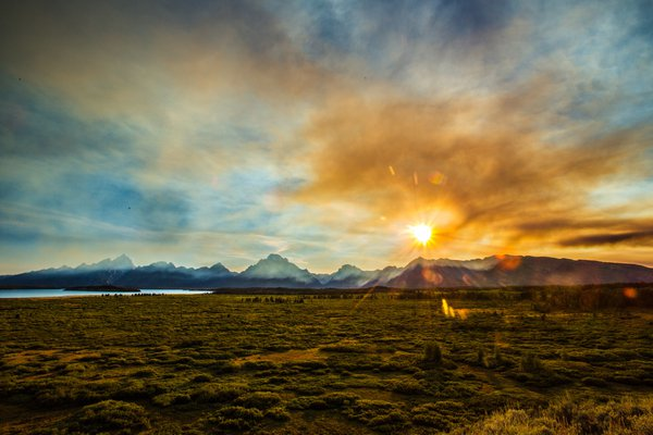 Sunset at Jackson Lake with some smoke of the forest fire from Yellowstone.  thumbnail