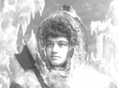 Josephine Peary, wife of the legendary Arctic explorer Robert Peary, wears a parka in 1892