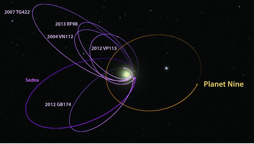 """A picture showing simulated dwarf planets clustred near the theoretical """"Planet Nine"""". There are a total of 6 pictured dwarf planet orbits in the photo and one orbit that belongs to Planet Nine."""