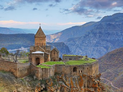 The Tatev Monastery sits perched on a cliff above Vorotan Gorge, Armenia's largest gorge.