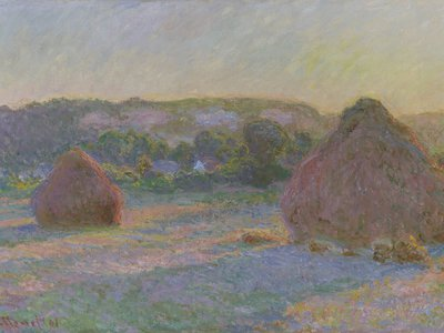 Stacks of Wheat (End of Summer), 1890-1, is one of 25 in a series by Impressionist painter Claude Monet, who frequently created similar depictions of a single subject in different lights, seasons and atmospheres.