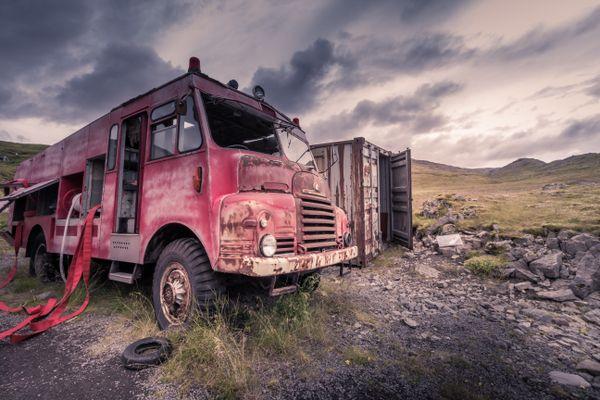 Abandoned fire truck in Breiðavik, Iceland thumbnail