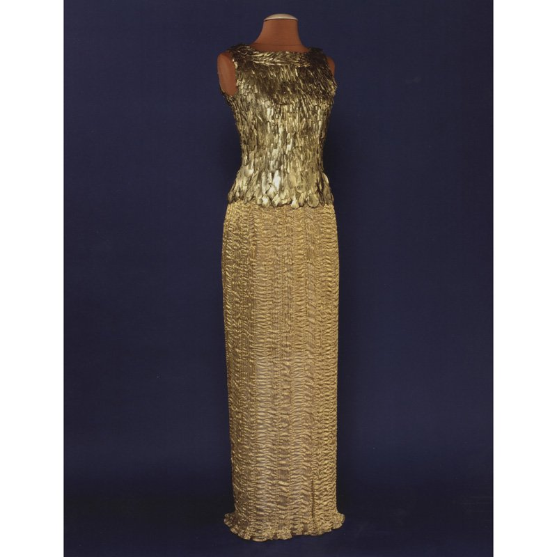 Gold-feathered, floor-length, sleeveless evening dress