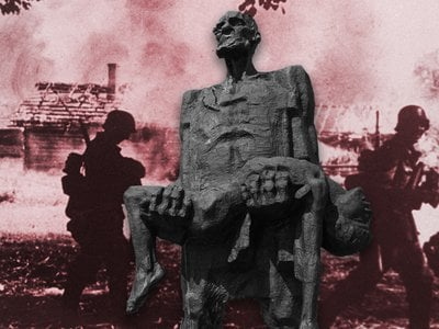Occupying forces murdered all the inhabitants of 629 razed Belarusian villages, in addition to burning down another 5,454 villages and killing at least a portion of their residents. Pictured: A statue of Khatyn survivor Iosif Kaminsky in front of a Belarusian village destroyed in 1941