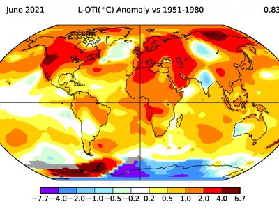 This map shows how land and ocean temperatures have changed from June 2021 relative to the 1951-1980 base period. High values (darker red colors) indicate temperatures that are higher than those in the base period. The number in the top right is an estimate of the global mean temperature increase. All temperatures are in Celsius.