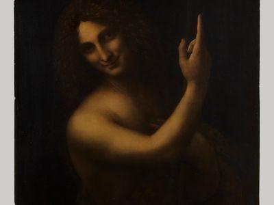 "The newly restored ""St. John the Baptist,"" by Leonardo da Vinci."