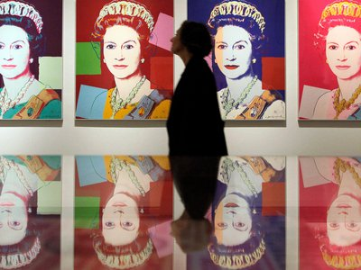 Andy Warhol's portraits of Queen Elizabeth on view at the National Portrait Gallery in London. Several works from this series are hung in British embassies in the United States.