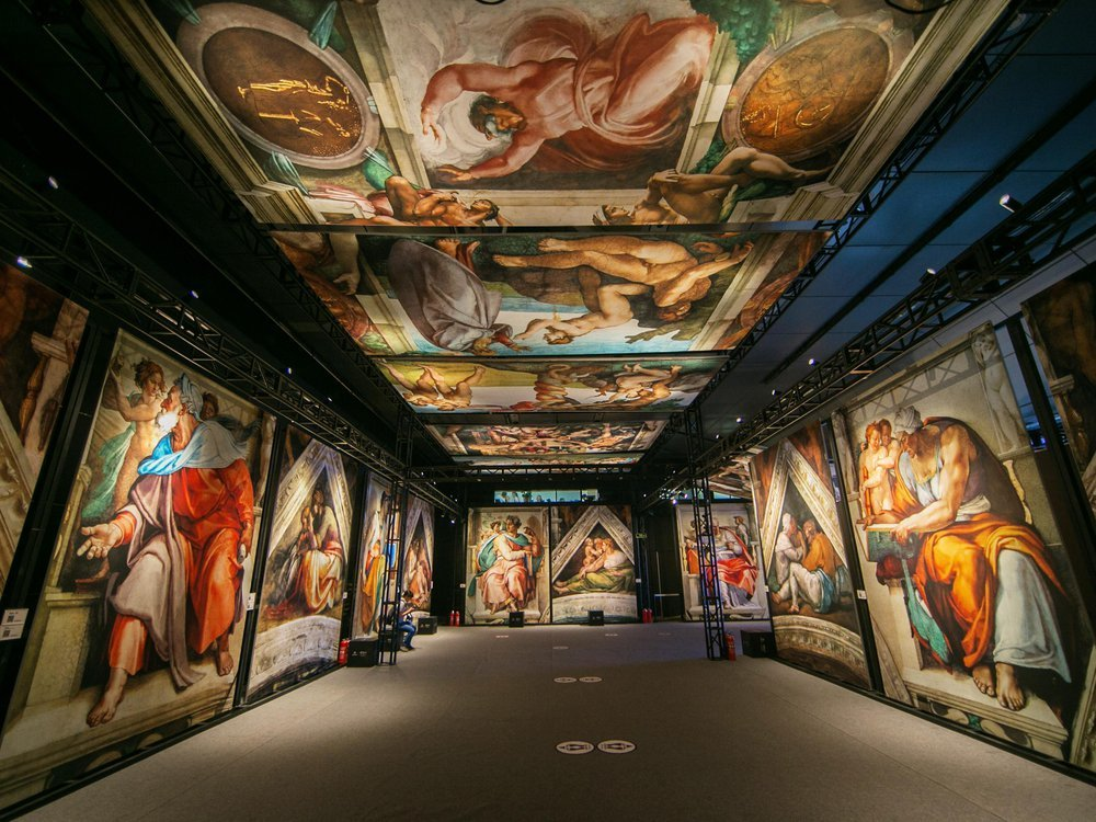 View of immersive Sistine Chapel exhibition