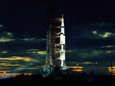 Apollo 17's Saturn V launch vehicle sits atop pad 39-A at the Kennedy Space Center in Florida.