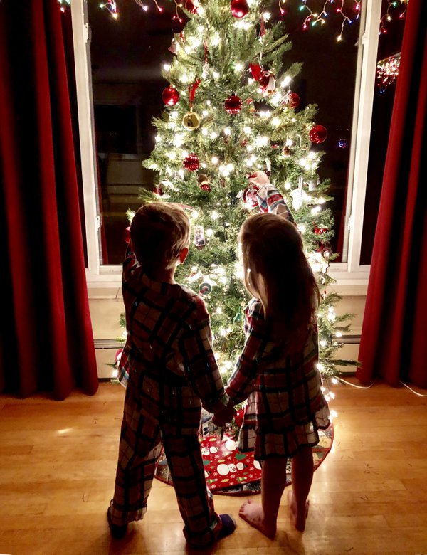 Four year old boy/girl twins admiring the Christmas tree thumbnail