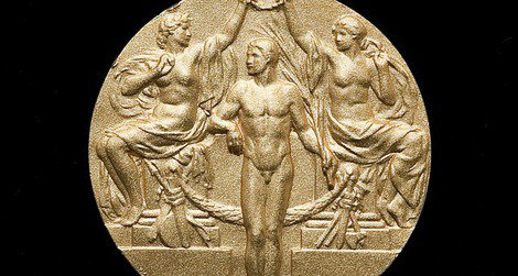 A replica of Jim Thorpe's Olympic medal from 1912 is on display at the American Indian Museum.