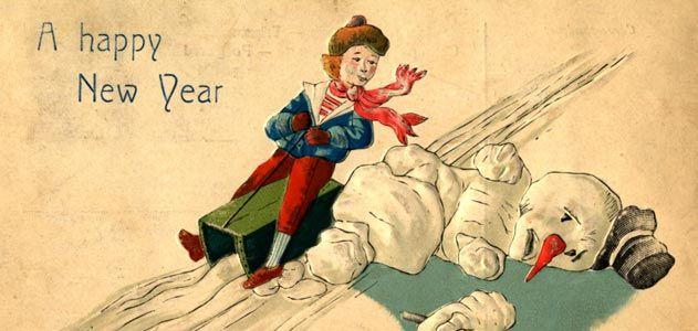 sled-running-over-snowman-postcard-631.jpg