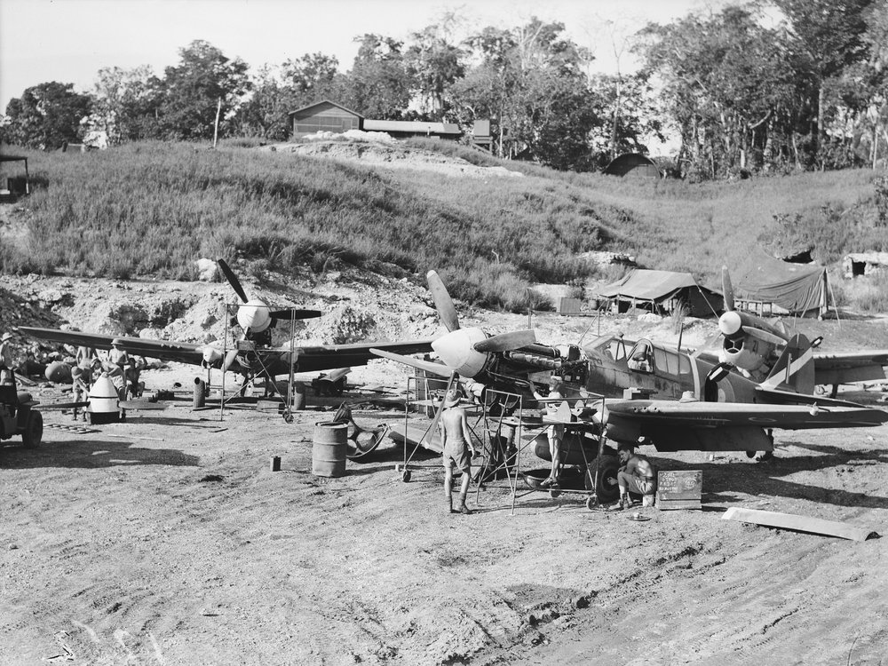 Ground crew servicing a group of Curtiss P-40 Kittyhawks. Presumed to be No. 1 Fighter Maintenance Unit at Kukum Field, Guadalcanal. (Photograph Courtesy of the Royal New Zealand Air Force Museum)