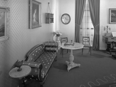 """A room furnished according to Poe's """"The Philosophy of Furniture"""" for a 1959 exhibition at the Brooklyn Museum"""