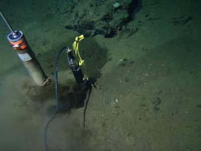 Alvin, a remotely operated submersible, drills for samples of the deep sea floor in 2014.