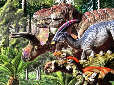 An illustration depicting some of the dinosaurs that roamed the Earth during the Late Cretaceous.
