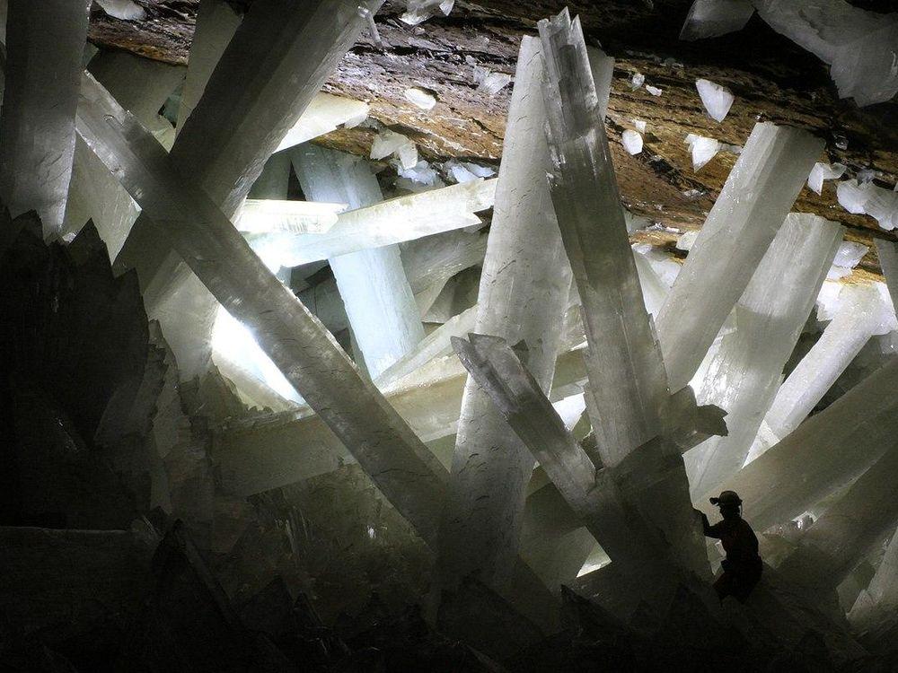 Enormous gypsum crystals in a Naica cavern