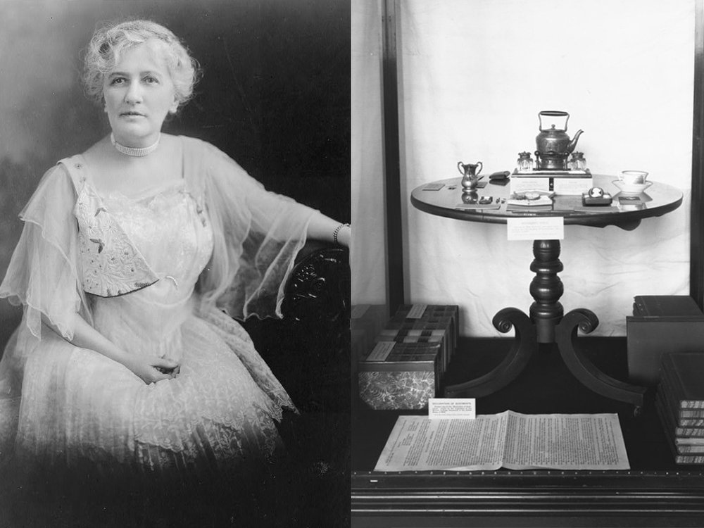 left, an photograph of Helen Hamilton Gardener. Right, the suffrage exhibition at the Smithsonian, with a circular table, books, and a document. Both photos are black-and-white