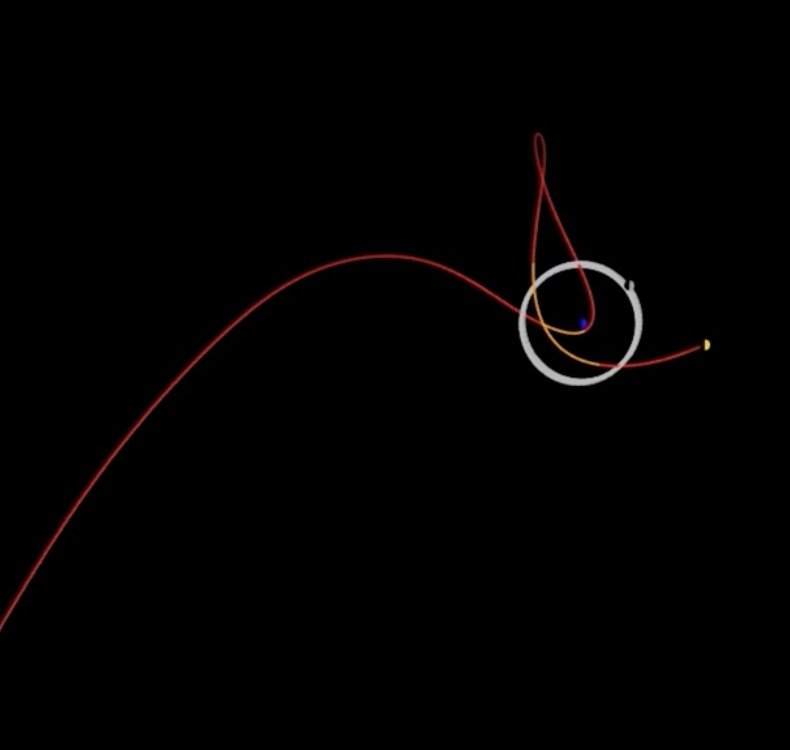 A red line showing the predicted path of 2020 SO, which arcs upward and curves in a bendy, elliptical shape around Earth; our moon's regular orbit is shown as a white circle surrounding a blue dot, Earth; all framed by black space