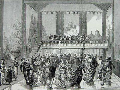 The 1876 Glaciarium included murals of the Alps on its walls and a raised seating section for curious onlookers, as shown in a May 1876 edition of Illustrated London News.