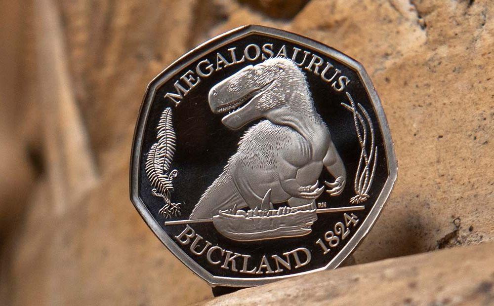 A Megalosaurus silver coin