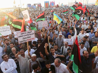 Protests in August, 2014 against the Libyan parliament's decision to ask the UN to intervene in the country's current conflict.