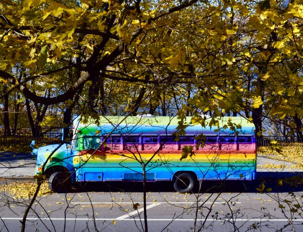 A Rainbow School Bus in New York City thumbnail