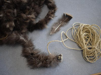 Early Puebloans wove turkey feathers into yucca fiber to make the blanket.