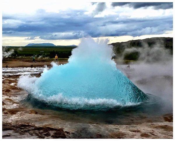 Strokkur geyser erupting - Iceland thumbnail