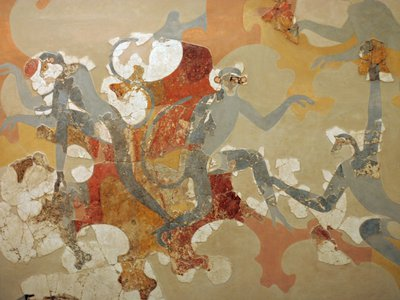 The blue monkey fresco at Akrotiri, an ancient settlement on the Aegean island of Thera, or modern-day Santorini