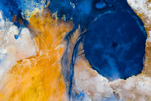 An abstract aerial view of Hverir, a geothermal area, Iceland. thumbnail