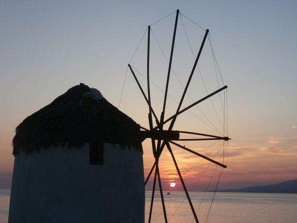Sunset through the Windmills of Mykonos thumbnail
