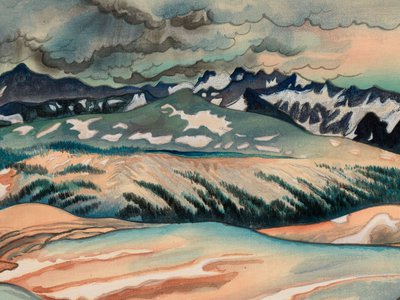 Great Nature, Storm on Mount Lyell from Johnson Peak by Chiura Obata, 1939