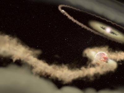 Artist's rendering of the planets orbiting PDS 70.