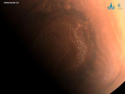 Mars as photographed by China's Tianwen-1 probe after it entered the planet's orbit in February.
