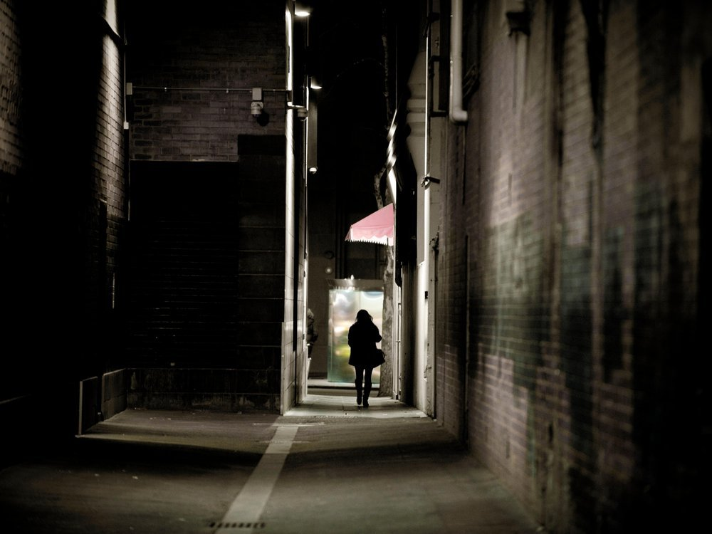 person in alley