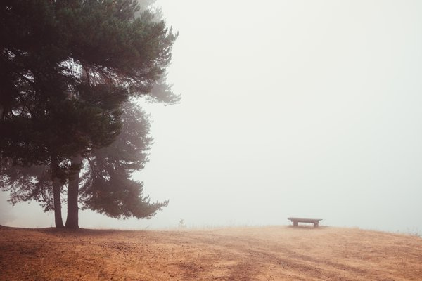 Lonely bench in the clouds. thumbnail