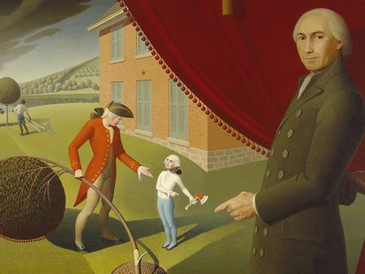 Parson Weems' Fable by Grant Wood, depicting Parson Weems and his famous story of George Washington and the cherry tree.