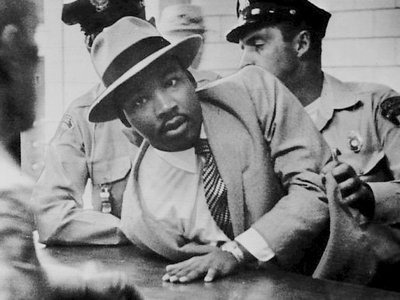 """Martin Luther King, Jr. is arrested for """"loitering"""" in Montgomery, Alabama, in September 1958."""